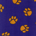LSU Fabric #624 - Gold Tiger Paws On Purple Twill